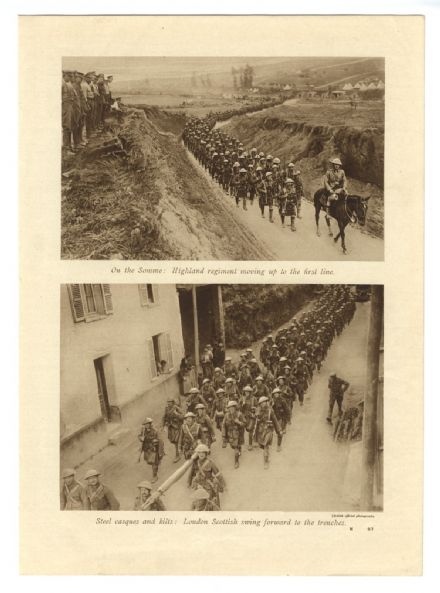 1916 SOMME Highland Regiment ADVANCE Also LONDON SCOTTISH Tank WORLD WAR ONE PRINT